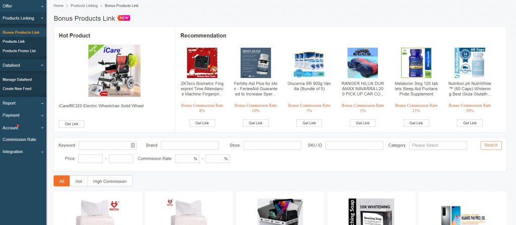 Lazada affiliate adsense dashboard